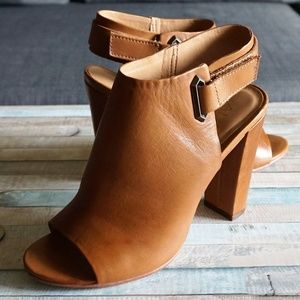 Aldo Tan Brown Block High Heel Leather Mules 7.5